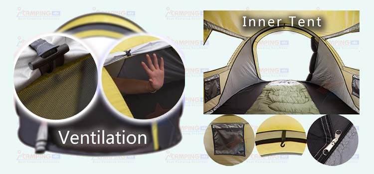 XINQIU 2-Person Pop-Up Tent ventilation