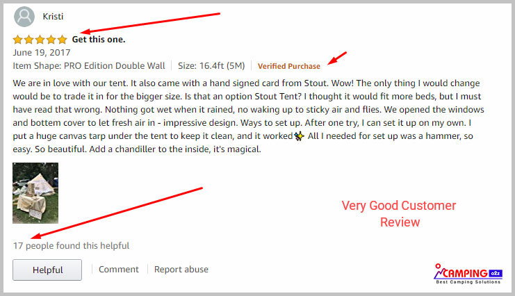 Stout bell canvas tent customer review