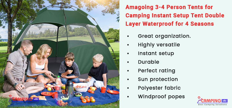 Amagoing 3-4 person camping tents review